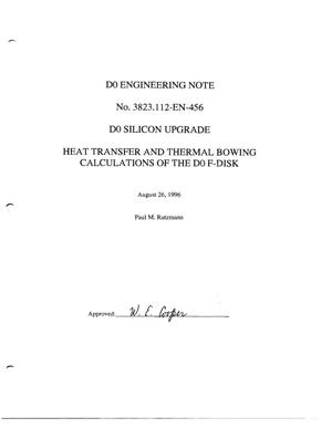 Primary view of object titled 'D0 Silicon Upgrade: Heat Transfer and Thermal Bowing Calculations of the D0 F-Diskl'.