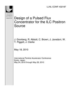 Primary view of object titled 'Design of a Pulsed Flux Concentrator for the ILC Positron Source'.
