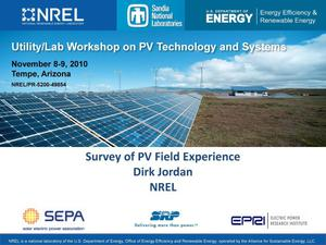 Primary view of object titled 'Utility/Lab Workshop on PV Technology and Systems; Survey of PV Field Experience (Presentation)'.