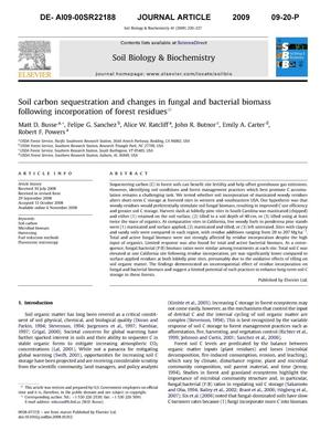 Primary view of object titled 'Soil carbon sequestration and changes in fungal and bacterial biomass following incorporation of forest residues.'.