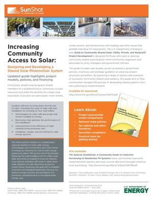 Primary view of object titled 'Increasing Community Access to Solar: Designing and Developing a Shared Solar Photovoltaic System (Fact Sheet)'.