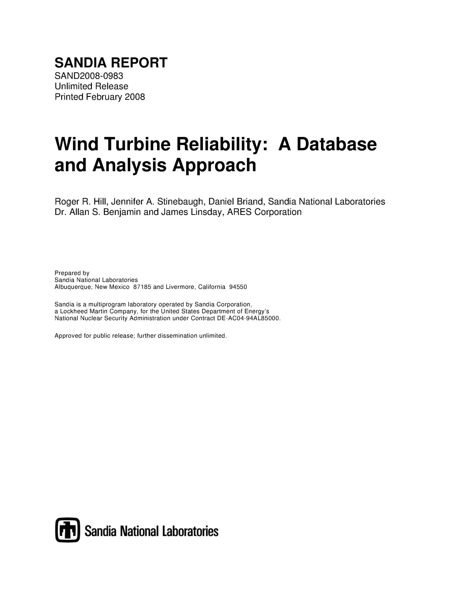Wind turbine reliability : a database and analysis approach.                                                                                                      [Sequence #]: 1 of 72