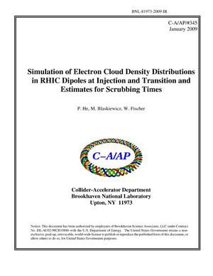 Primary view of object titled 'Simulation of Electron Cloud Density Distributions in RHIC Dipoles at Injection and Transition and Estimates for Scrubbing Times'.