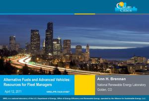 Primary view of object titled 'Alternative Fuels and Advanced Vehicles: Resources for Fleet Managers (Clean Cities) (Presentation)'.