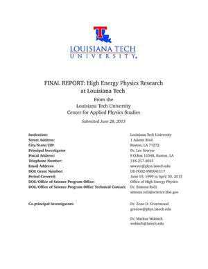 Primary view of object titled 'High Energy Physics Research at Louisiana Tech'.