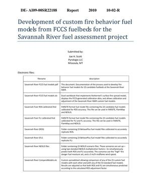 Primary view of object titled 'Development of custom fire behavior fuel models from FCCS fuelbeds for the Savannah River fuel assessment project.'.