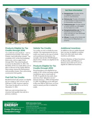 Tax Credits For Home Energy Improvements Fact Sheet Unt Digital Library