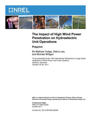 Primary view of object titled 'Impact of High Wind Power Penetration on Hydroelectric Unit Operations: Preprint'.