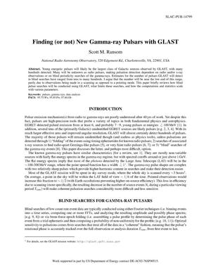 Primary view of object titled 'Finding (Or Not) New Gamma-Ray Pulsars with GLAST'.