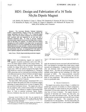Primary view of object titled 'HD1: Design and Fabrication of a 16 Tesla Nb3Sn Dipole Magnet'.