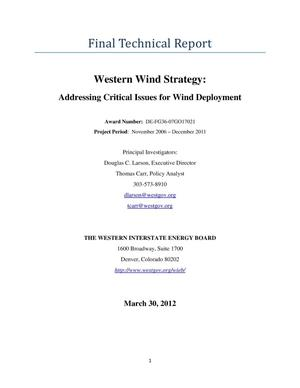 Primary view of object titled 'Western Wind Strategy: Addressing Critical Issues for Wind Deployment'.