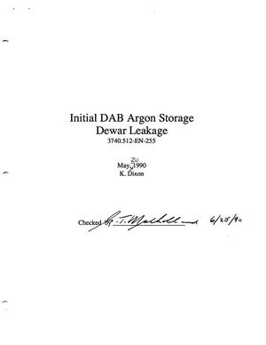 Primary view of object titled 'Initial DAB Argon Storage Dewar Leakage'.