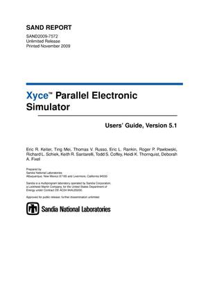 Primary view of object titled 'Xyce parallel electronic simulator : users' guide. Version 5.1.'.