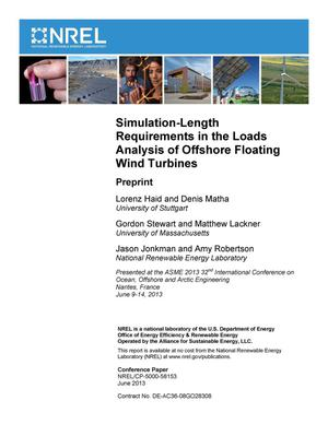 Primary view of object titled 'Simulation-Length Requirements in the Loads Analysis of Offshore Floating Wind Turbines: Preprint'.