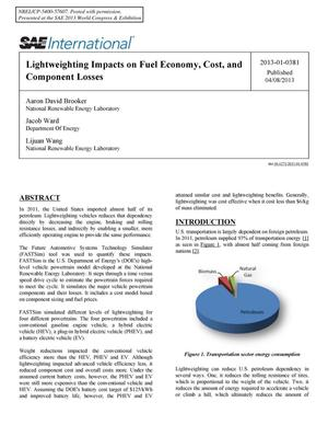 Primary view of object titled 'Lightweighting Impacts on Fuel Economy, Cost, and Component Losses'.