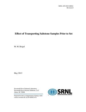 Primary view of object titled 'EFFECT OF TRANSPORTING SALTSTONE SAMPLES PRIOR TO SET'.