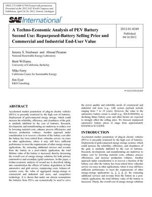 Primary view of object titled 'Techno-Economic Analysis of PEV Battery Second Use: Repurposed-Battery Selling Price and Commercial and Industrial End-User Value'.