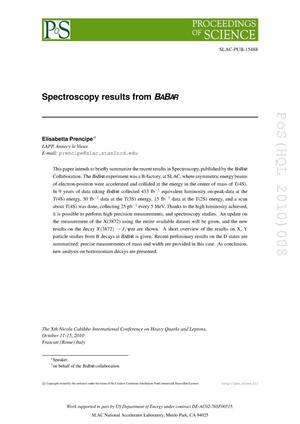 Primary view of object titled 'Spectroscopy Results from BABAR'.