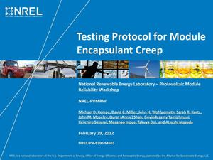 Primary view of object titled 'Testing Protocol for Module Encapsulant Creep (Presentation)'.