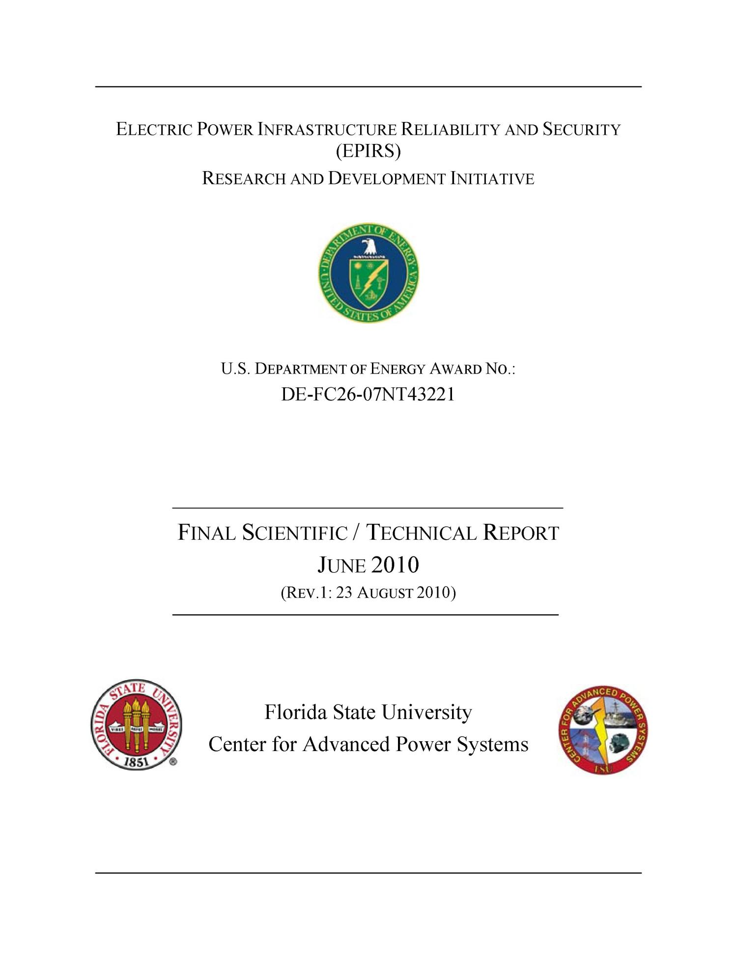 Electric Power Infrastructure Reliability and Security EPIRS