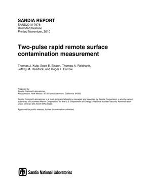 Primary view of object titled 'Two-pulse rapid remote surface contamination measurement.'.