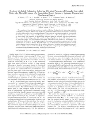 Primary view of object titled 'Electron-Mediated Relaxation Following Ultrafast Pumping of Strongly Correlated Materials: Model Evidence of a Correlation-Tuned Crossover between Thermal and Nonthermal States'.