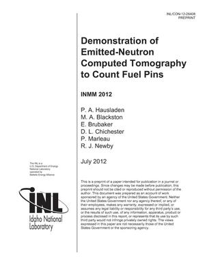 Primary view of object titled 'Demonstration of Emitted-Neutron Computed Tomography to Count Fuel Pins'.