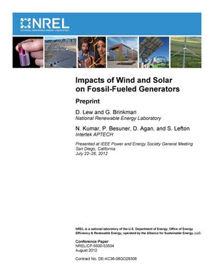Primary view of object titled 'Impacts of Wind and Solar on Fossil-Fueled Generators: Preprint'.
