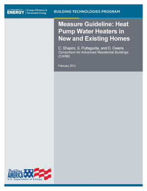 Primary view of object titled 'Measure Guideline: Heat Pump Water Heaters in New and Existing Homes'.