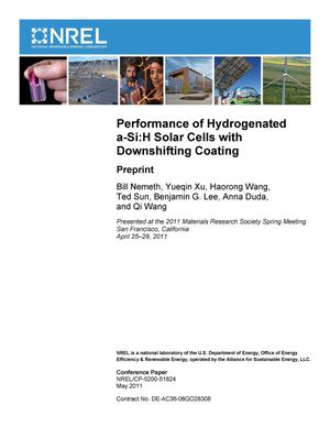 Primary view of object titled 'Performance of Hydrogenated a-Si:H Solar Cells with Downshifting Coating: Preprint'.