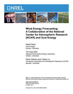 Primary view of object titled 'Wind Energy Forecasting: A Collaboration of the National Center for Atmospheric Research (NCAR) and Xcel Energy'.