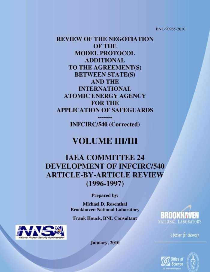 Review Of The Negotiation Of The Model Protocol Additional To The