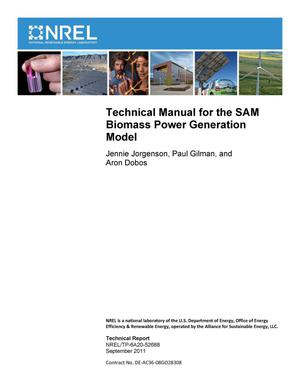 Primary view of object titled 'Technical Manual for the SAM Biomass Power Generation Model'.