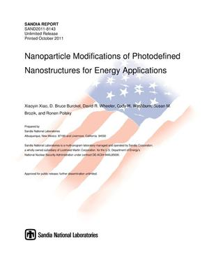 Primary view of object titled 'Nanoparticle modifications of photodefined nanostructures for energy applications.'.