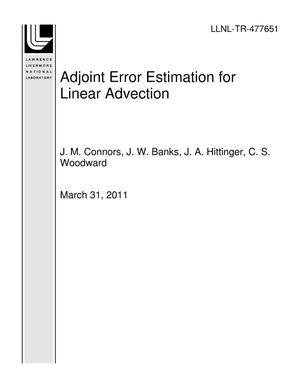 Primary view of object titled 'Adjoint Error Estimation for Linear Advection'.