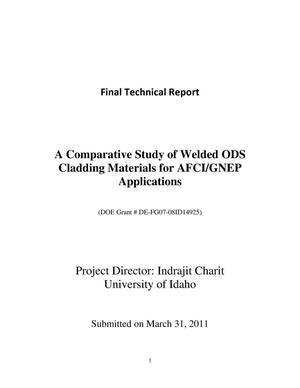 Primary view of object titled 'A Comparative Study of Welded ODS Cladding materials for AFCI/GNEP Applications'.