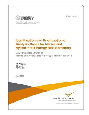 Primary view of object titled 'Identification and Prioritization of Analysis Cases for Marine and Hydrokinetic Energy Risk Screening'.