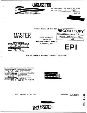 Primary view of object titled 'Health-Physics Monthly Information Report. September 1952'.