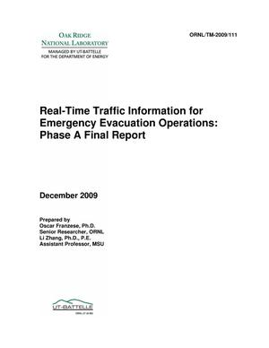 Primary view of object titled 'Real-Time Traffic Information for Emergency Evacuation Operations: Phase A Final Report'.