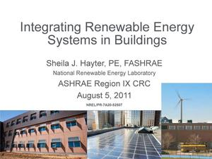 Primary view of object titled 'Integrating Renewable Energy Systems in Buildings (Presentation)'.
