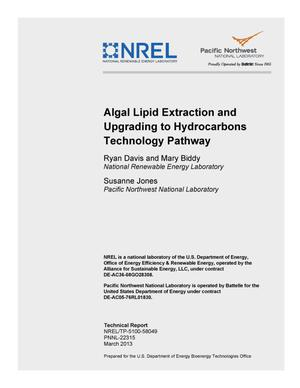 Primary view of object titled 'Algal Lipid Extraction and Upgrading to Hydrocarbons Technology Pathway'.