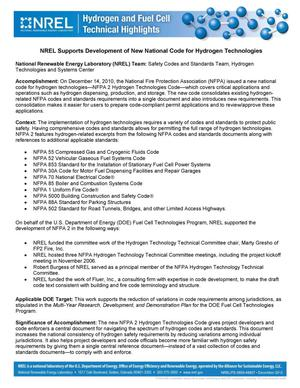 Primary view of object titled 'NREL Supports Development of New National Code for Hydrogen Technologies (Fact Sheet)'.