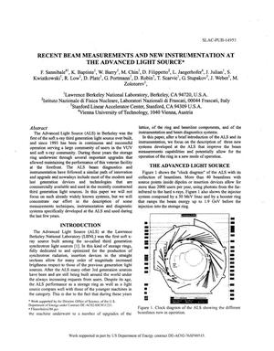 Primary view of object titled 'Recent Beam Measurements and New Instrumentation at the Advanced Light Source'.