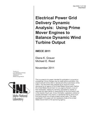 Primary view of object titled 'Electrical Power Grid Delivery Dynamic Analysis: Using Prime Mover Engines to Balance Dynamic Wind Turbine Output'.