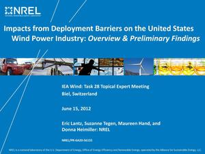 Primary view of object titled 'Impacts from Deployment Barriers on the United States Wind Power Industry: Overview & Preliminary Findings (Presentation)'.