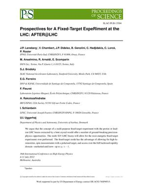 Primary view of object titled 'Prospectives for a Fixed-Target ExperRment at the LHC: AFTER@LHC'.