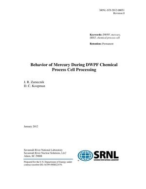 Primary view of object titled 'BEHAVIOR OF MERCURY DURING DWPF CHEMICAL PROCESS CELL PROCESSING'.