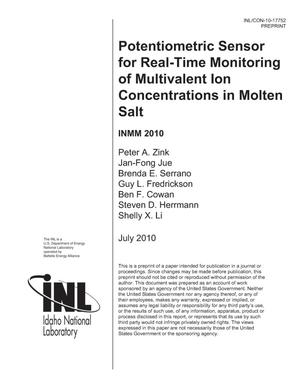 Primary view of object titled 'Potentiometric Sensor for Real-Time Monitoring of Multivalent Ion Concentrations in Molten Salt'.