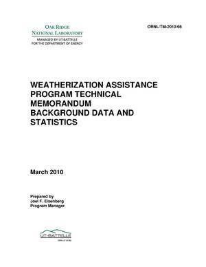 Primary view of object titled 'Weatherization Assistance Program - Background Data and Statistics'.