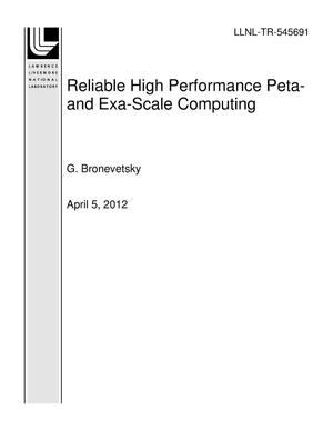 Primary view of object titled 'Reliable High Performance Peta- and Exa-Scale Computing'.